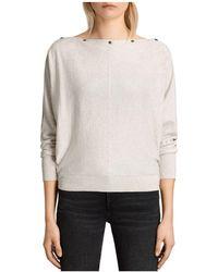AllSaints   Elle Snap-detail Sweater   Lyst