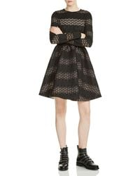 Maje - Relane Lace-inset Fit-and-flare Dress - Lyst