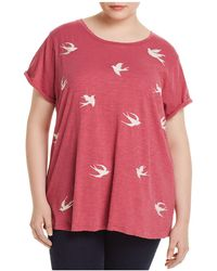 Lucky Brand - Embroidered Bird Distressed Tee - Lyst