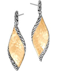John Hardy - Sterling Silver & 18k Bonded Gold Classic Chain Hammered Drop Earrings - Lyst