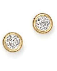 KC Designs - 14k Yellow Gold Diamond Bezel Stud Earrings - Lyst