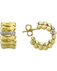 Chimento | 18k Yellow & White Gold Bamboo Over Collection Hoop Earrings With Diamonds | Lyst