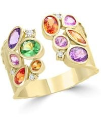 Bloomingdale's - Multicolor Sapphire, Diamond And Tsavorite Ring In 14k Yellow Gold - Lyst