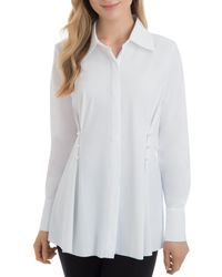 Lyssé - Faux-pearl-trim Tunic Shirt - Lyst