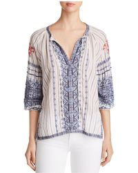 Johnny Was - Shea Embroidered Peasant Blouse - Lyst