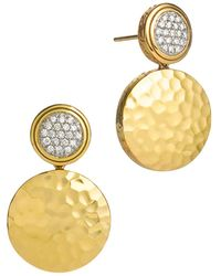John Hardy - Palu 18k Gold & Diamond Pavé Double Drop Earrings, .28 Ct. T.w. - Lyst