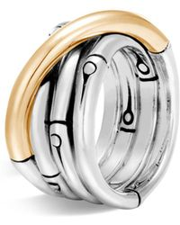 John Hardy - Brushed 18k Yellow Gold And Sterling Silver Bamboo Ring - Lyst