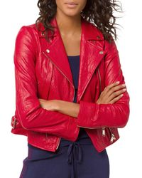 MICHAEL Michael Kors - Crinkled-texture Leather Moto Jacket - Lyst