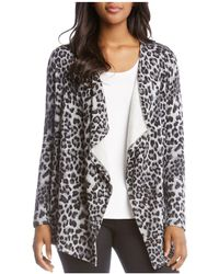Karen Kane - Leopard-print Fleece Open Cardigan - Lyst