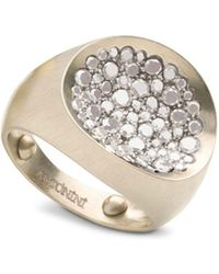 Antonini - Matte 18k White Gold Matera Small Pavé Silvermist Diamond Ring - Lyst