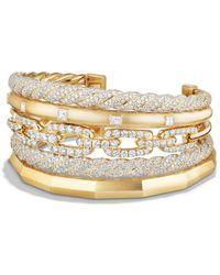 David Yurman - Stax Five Row Cuff Bracelet With Diamonds In 18k Gold - Lyst