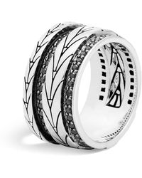 John Hardy | Sterling Silver Modern Chain Band Ring With Black Sapphire | Lyst