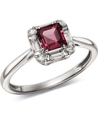 Bloomingdale's - Rhodolite Garnet & Diamond Square Ring In 14k White Gold - Lyst