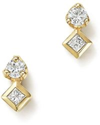 Zoe Chicco | 14k Yellow Gold Prong And Bezel Diamond Stud Earrings | Lyst
