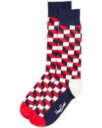Happy Socks - Men's Filled Optic Cube Socks - Lyst