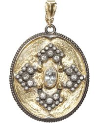 Armenta - 18k Yellow Gold And Blackened Sterling Silver Old World Midnight Diamond And White Sapphire Oval Pendant - Lyst