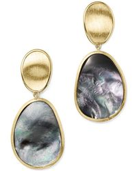 Marco Bicego - 18k Yellow Gold Lunaria Black Mother-of-pearl Double Drop Earrings - Lyst