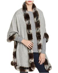 Badgley Mischka | Faux Fur Trim Wrap | Lyst