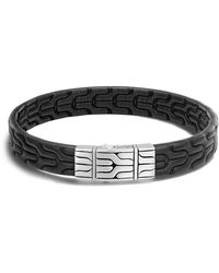 John Hardy - Men's Sterling Silver Classic Chain Bracelet With Black Leather - Lyst
