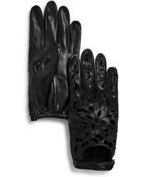 Portolano - Embroidered Leather Driver Gloves - Lyst