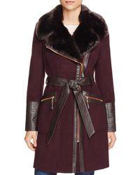 Via Spiga - Belted Faux Fur-trim Asymmetric Coat - Lyst