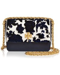 5fd9c19dffe Tory Burch - Kira Fil Coupe Mini Leather   Velvet Convertible Shoulder Bag  - Lyst