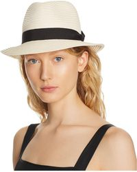 Aqua - Packable Ribbon-trim Fedora - Lyst