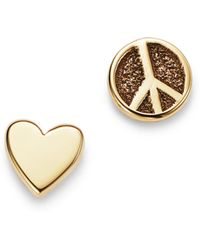 Zoe Chicco - 14k Yellow Gold Itty Bitty Peace Sign & Heart Mixed Stud Earrings - Lyst