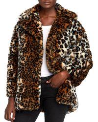 Pam & Gela - Leopard Print Faux Fur Coat - Lyst