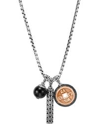 """John Hardy - Bronze & Sterling Silver Classic Chain Black Onyx Charm Necklace, 26"""" - Lyst"""