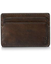 Frye - Oliver Leather Id Card Case Dark Brown - Lyst