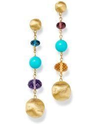 Marco Bicego - 18k Yellow Gold Gemstone & Turquoise Long Drop Earrings - Lyst