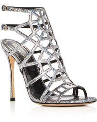 Sergio Rossi - Puzzle Metallic Glitter Caged High Heel Sandals - Lyst