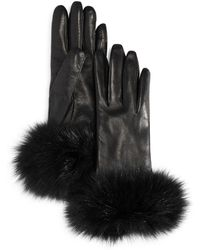 Bloomingdale's - Fox Fur Cuffed Leather Gloves - Lyst