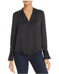Kenneth Cole - V-neck Long Sleeve Blouse - Lyst