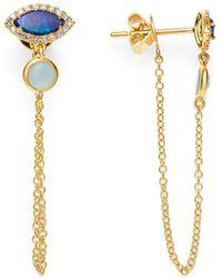 Meira T - Opal & Diamond Draped Chain Stud Earrings - Lyst