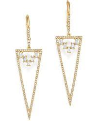 KC Designs - 14k Yellow Gold Mosaic Diamond Statement Earrings - Lyst