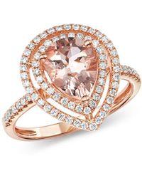 Bloomingdale's - Morganite & Diamond Teardrop Cocktail Ring In 14k Rose Gold - Lyst