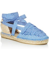 Castaner - Women's Jean Gingham Ankle Tie Espadrille Flats - Lyst