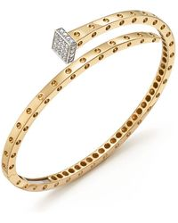 Roberto Coin - 18k Yellow And White Gold Pois Moi Chiodo Bangle With Diamonds - Lyst