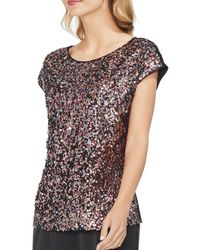 Vince Camuto - Multicolored Sequin-front Top - Lyst