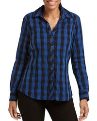 Foxcroft - Crinkled Buffalo Check Top - Lyst
