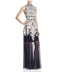 Aqua - Embroidered Mock-neck Gown - Lyst