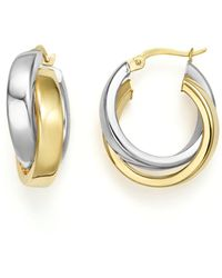 Bloomingdale's - 14k Yellow And White Gold Bold Dual Hoop Earrings - Lyst