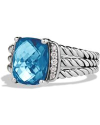 David Yurman - Petite Wheaton Ring With Hampton Blue Topaz And Diamonds - Lyst