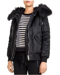 The Kooples - Faux-fur Trimmed Coat - Lyst