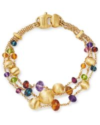 Marco Bicego - 18k Yellow Gold Africa Color Multi Gemstone Triple Strand Bracelet - Lyst