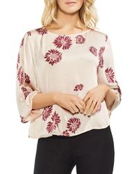 Vince Camuto - Chateau Sketch Floral Smocked Detail Top - Lyst