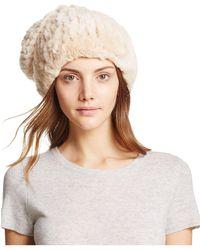 c13b7313259 Lyst - Surell Suede Rabbit Fur-trimmed Hat in Gray