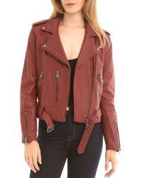 BAGATELLE.NYC - Belted Leather Biker Jacket - Lyst